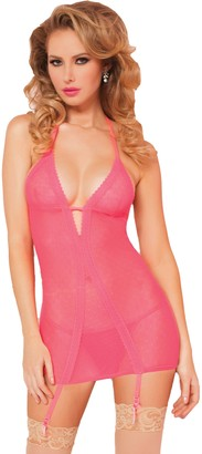 Seven Til Midnight SEVEN 'TIL MIDNIGHT Women's Point D'Esprit Chemise and Thong