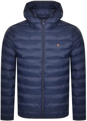 Farah Strickland Quilted Jacket Navy