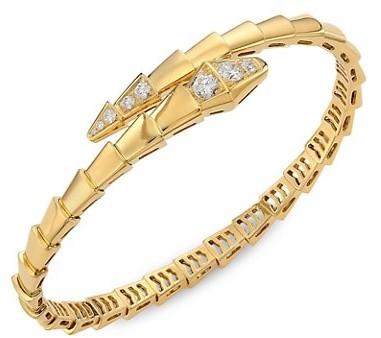 Thumbnail for your product : Bvlgari Serpenti Viper 18K Yellow Gold & Diamond Bangle Bracelet