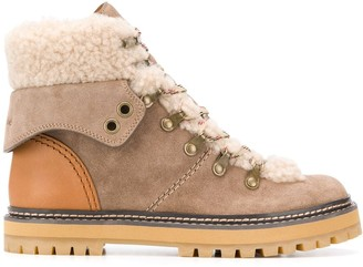 See by Chloe shearling trek boots