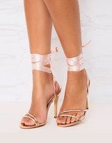 PrettyLittleThing Ribbon Lace Up Heeled Sandals