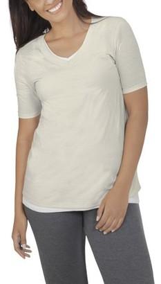 Fruit of the Loom Women's Athleisure Essentials Soft Elbow Length V-Neck T-Shirt