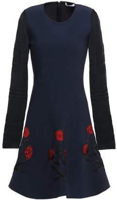 Oscar de la Renta Burnout Ponte-paneled Jacquard-knit Mini Dress