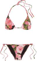 Dolce & Gabbana Floral-print Triangle Bikini - Pink