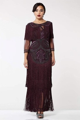 Gatsbylady London Glam Fringe Flapper Maxi Dress in Plum