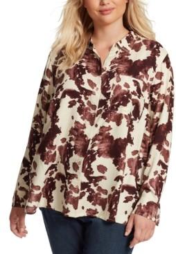 Jessica Simpson Trendy Plus Size Petunia Printed Shirt