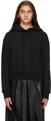 System Black French Terry Cropped Hoodie
