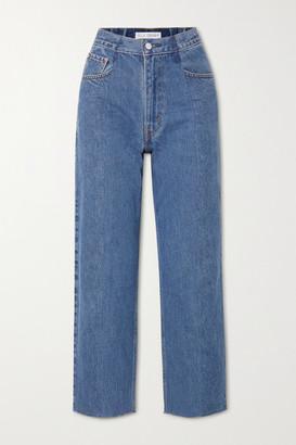 E.L.V. Denim The Boyfriend Frayed High-rise Wide-leg Jeans - Mid denim