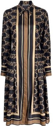 Alberta Ferretti Logo-Print Silk Shirt Dress