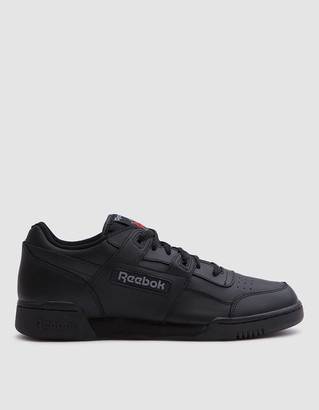 Reebok Men's Workout Plus in Black/Charcoal Shoes, Size 8 | Leather