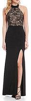 B. Darlin Mock Neck Sequin Embellished Bodice Strappy-Back Long Dress