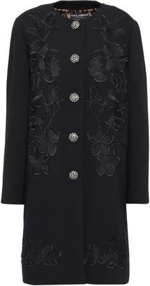 Dolce & Gabbana Embellished Wool-blend Crepe Coat