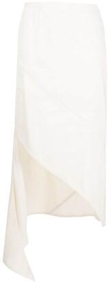 Off-White Draped Asymmetric Pencil Skirt
