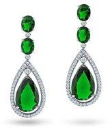 Bling Jewelry Simulated Emerald CZ Oval Teardrop Dangle Chandelier Earrings 2in Silver Plated