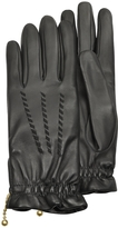 Forzieri Women's Embroidered Black Calf Leather Gloves