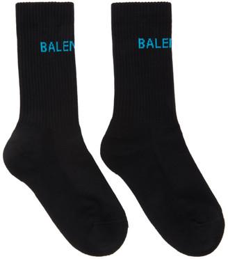 Balenciaga Black and Blue Logo Tennis Socks