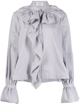 Victoria Victoria Beckham Houndstooth-Print Ruffled Blouse