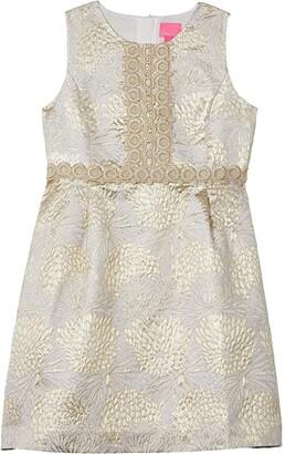 Lilly Pulitzer Mini Clare Dress (Toddler/Little Kids/Big Kids) (Gold Metallic Full Bloom Brocade) Girl's Dress