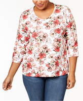 Karen Scott Plus Size Cotton Printed V-Neck T-Shirt, Created for Macy's