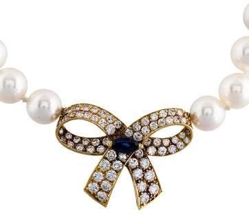 Van Cleef & Arpels 18K Diamond & Sapphire Clasp W/ Pearl Strand