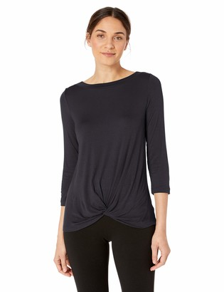 Lark & Ro Women's Three Quarter Sleeve Knot Front Knit Top