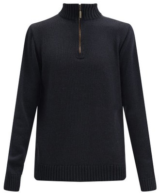 Inis Meáin Zipped Merino-wool Blend Sweater - Black