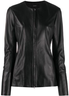 Joseph Collarless Leather Jacket