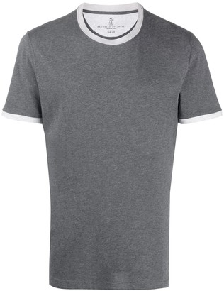 Brunello Cucinelli short sleeve contrasting trim T-shirt