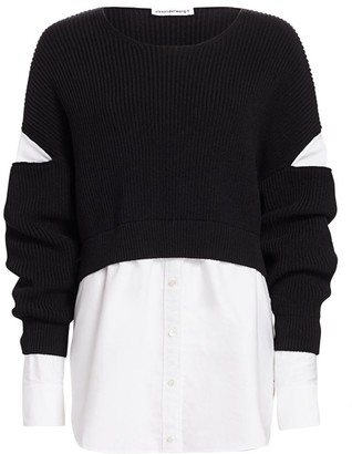 Alexander Wang Mixed-Media Cotton Poplin Ribbed Top