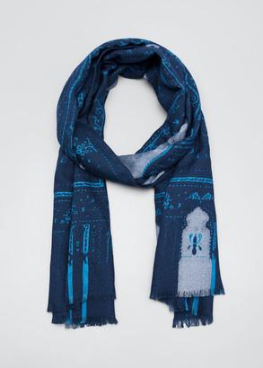 Etro Men's Patterned Silk-Blend Scarf