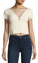 Alexander Wang Short-Sleeve Lace-Up Crop T-Shirt