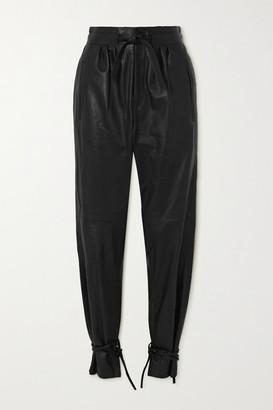 Isabel Marant Duardo Tie-detailed Leather Tapered Pants - Black