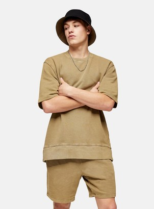 Topman Washed Khaki Short Sleeve Sweatshirt