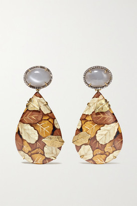 Silvia Furmanovich Marquetry 18-karat Gold, Wood, Moonstone And Diamond Earrings