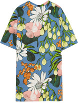 Marni Floral-print Cotton And Linen-blend Mini Dress - Blue