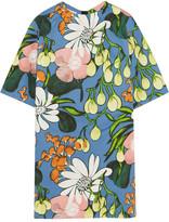 Marni Floral-print Cotton And Linen-blend Mini Dress - Blue