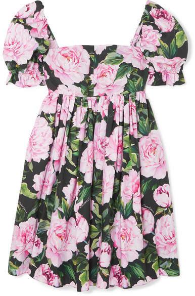 Dolce & Gabbana Shirred Floral-print Cotton Mini Dress - Pink