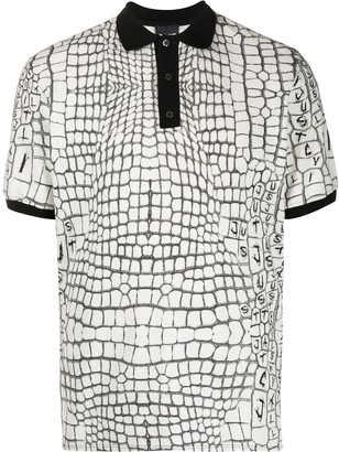 Just Cavalli Grid Print Polo Shirt