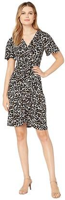 Donna Morgan Flutter Sleeve Leopard Print Jersey Dress (Tan/Brown) Women's Dress