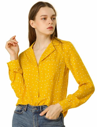 Allegra K Women's Button Up Notched Lapel V Neck Long Sleeves Heart Polka Dots Shirt Tops with Pocket XS Beige