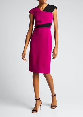 Roland Mouret Beadle Stretch Viscose Colorblock Dress