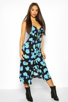 boohoo Woven Floral Tie Front Skater Dress