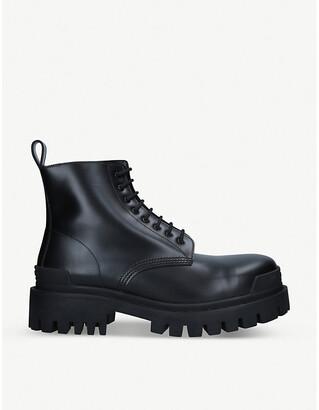 Balenciaga Strike leather platform ankle boots