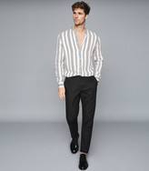 Reiss Yorker - Striped Grandad Collar Shirt in White