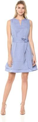 Lark & Ro Amazon Brand Women's Sleeveless Self Belt Solid Chambray Dress