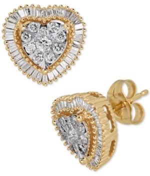 Macy's Diamond Heart Cluster Halo Stud Earrings (1/2 ct. t.w.)