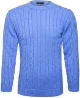 GirlzWalk ® Mens Crew Neck Plain Cable Knitted Sweater