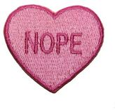 Logophile Embroidered Nope Heart Patch