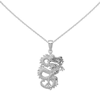 14K White Gold Polished 3-D Dragon Pendant with 18-inch Cable Rope Chain by Versil