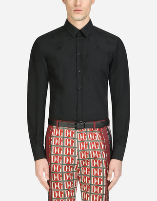 Dolce & Gabbana Gold Fit Shirt In Cotton Jacquard